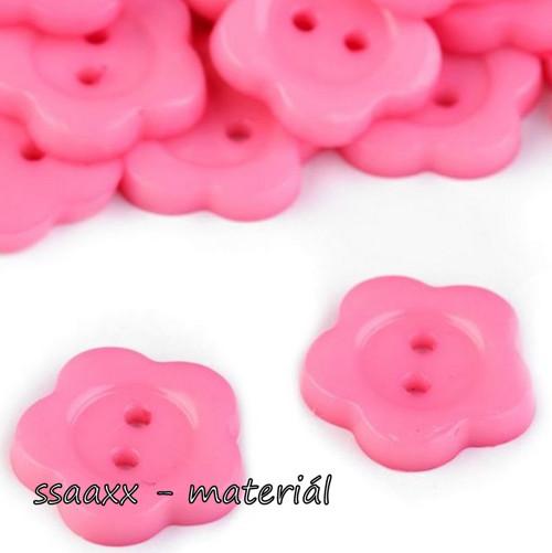 Plastový knoflík ~ květ ~ 14 mm ~ 2 ks ~ růžový