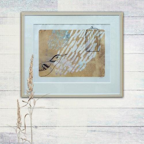 Pták a klec II. - obráz v paspartě
