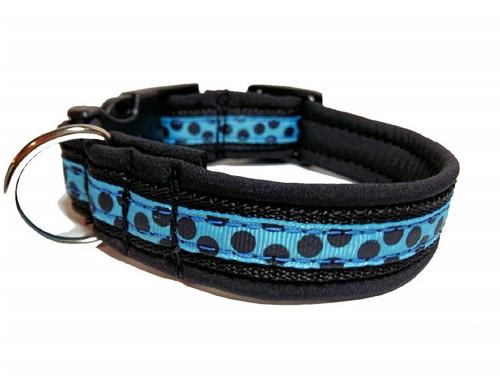 Obojek Černý puntík na modré (max. délka 35 cm)