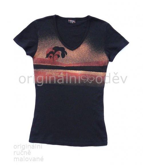 SLEVA: Malované tričko dámské - strom - černé