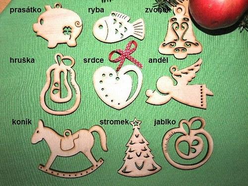 Vánoční dřevěné ozdoby FIGURKY - 9 druhů - M