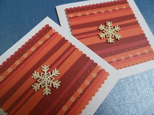 Vánoční přání (oranžové) - vločka