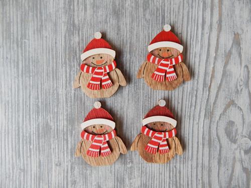Nálepky Sněhulák dřevo 4 kusy v čepici