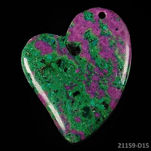 21159-D15 Přívěšek srdce MALACHIT  v  OPÁLU 45/35