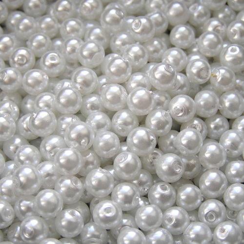 4 mm voskové perle bílé 100 ks