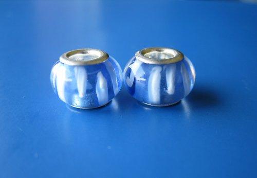 Korálky 2ks-modra s bílým proužkem