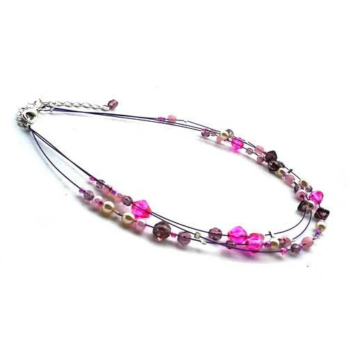 Krémovorůžovofialový náhrdelník pro malé parádnice