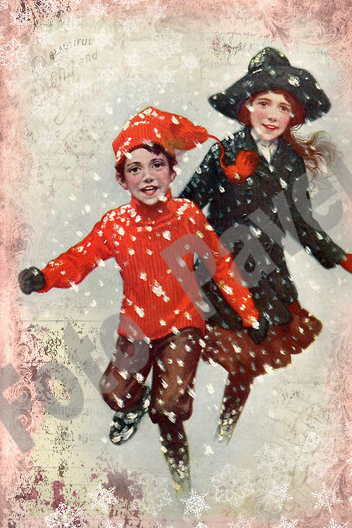 Vintage motiv - děti v zimě 2