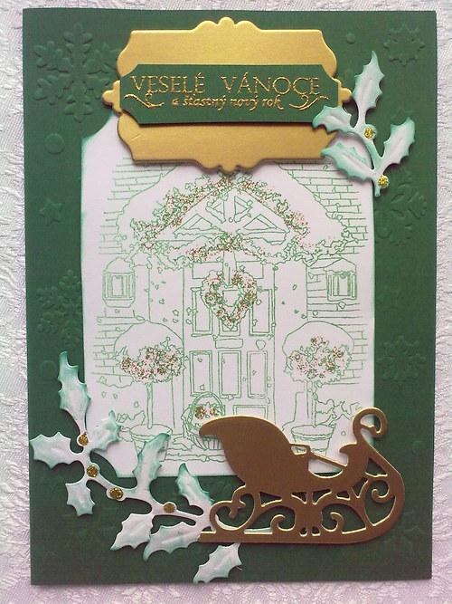 Vánoční přání zeleno-zlaté
