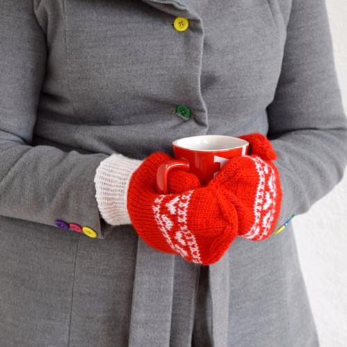 Srdíčkové rukavice - červenobílé