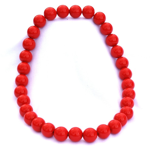 Červené střední korále na krk