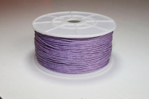 Voskovaná bavlněná šňůrka lila - 1m