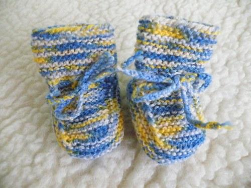 dětské bačkůrky strakaté žluto-modré