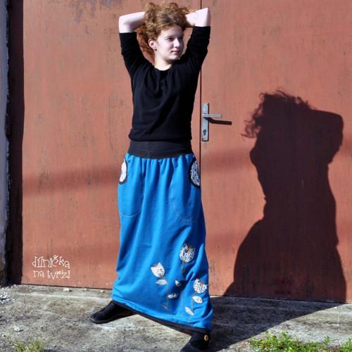Petrolejová s kvítky...maxi sukně