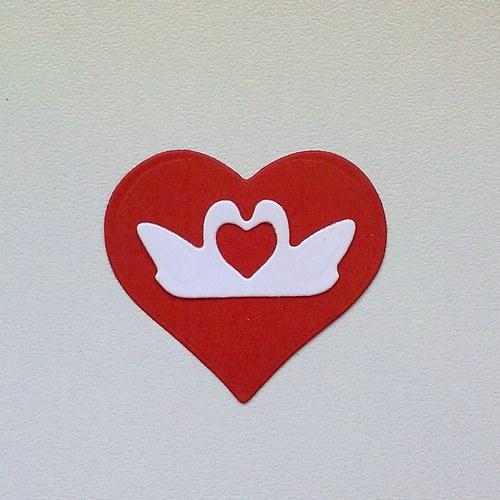 Výsek - Srdce a dvě mini labutě  2ks