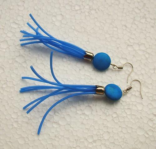 náušnice střapce neonově modré