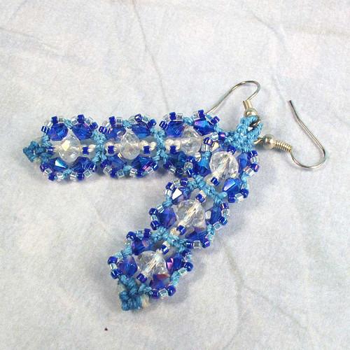 Macramé náušnice Karolína modré