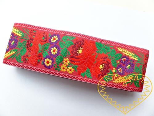 Červená krojová stuha polyester - vzorovka š 7 cm