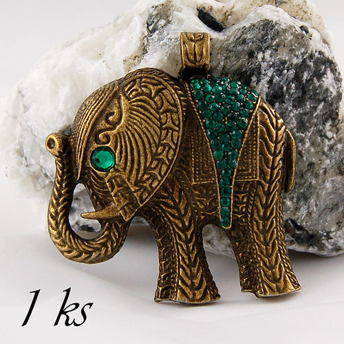 Velký slon bronzové barvy se zeleným sedlem - 1ks