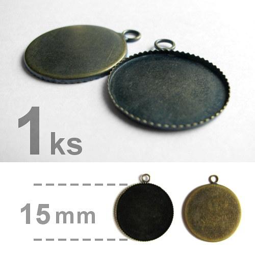 Lůžko - kruhové - zubatý okraj (15mm) - mosazná