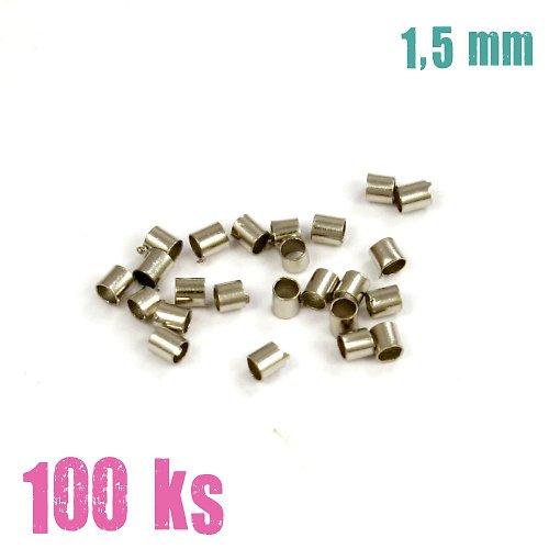 Zamačkávací rokajl platinový trub. 1.5 mm 100 ks