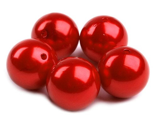 Korálky plast kulička Ø20mm voskované - červená