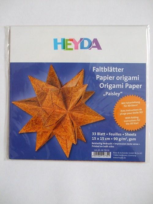 Origami papíry 15x15 - kašmír oranžovo červený