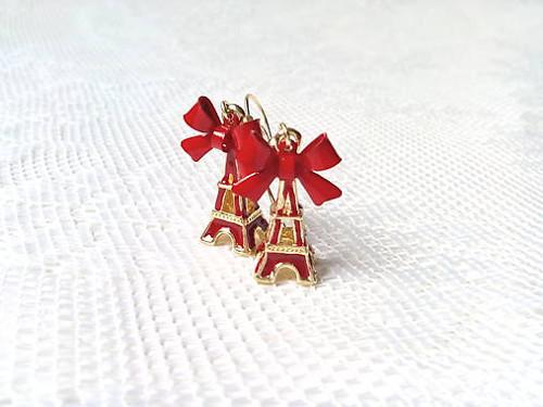 Eiffel earrings (red/24k Gold)