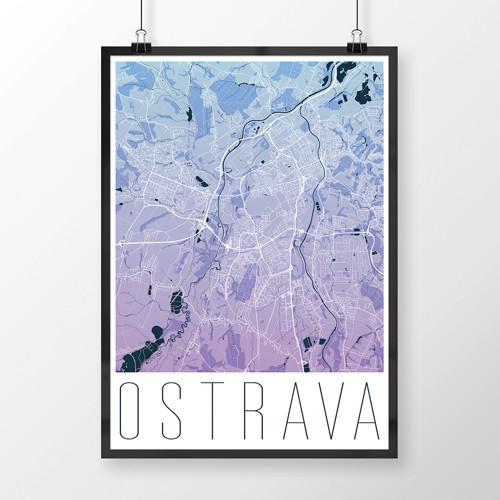 OSTRAVA, 50x70cm, moderní, modro-fialová