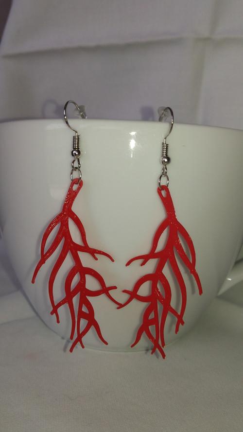 Náušnice halabala červené - 3D tisk