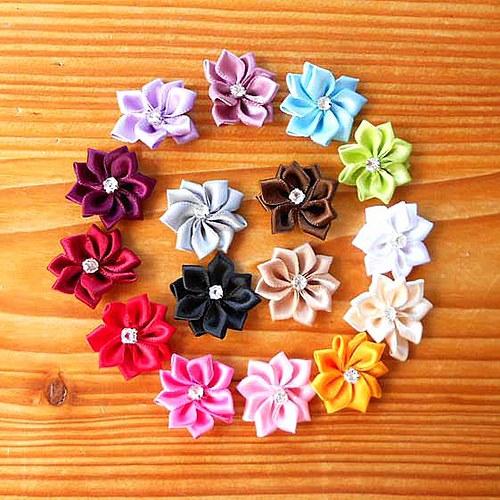 Saténová Květinka 25mm - 2ks - Růžová