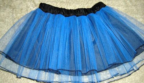 LAURA -světlemodrá tylová sukně 2 řady s lemováním