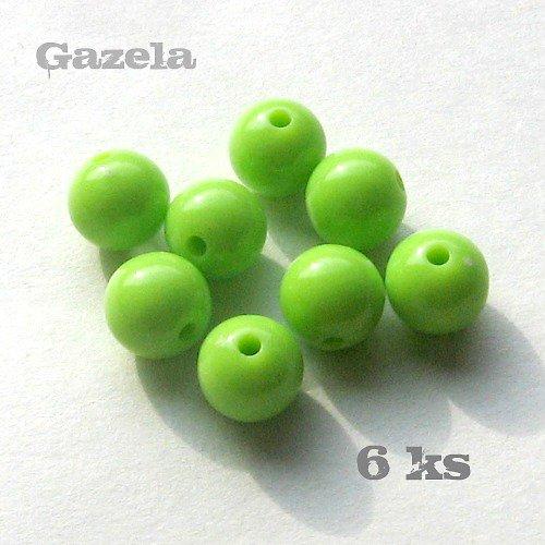 Korálek plastový světle zelený - 6 ks