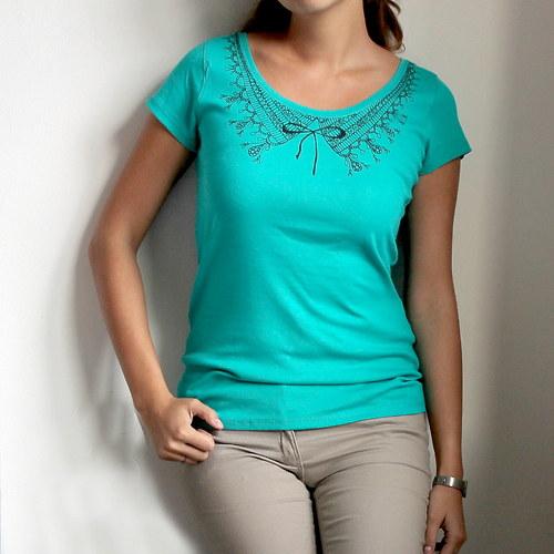Tyrkysové tričko s límečkem (vel.M) - SLEVA!