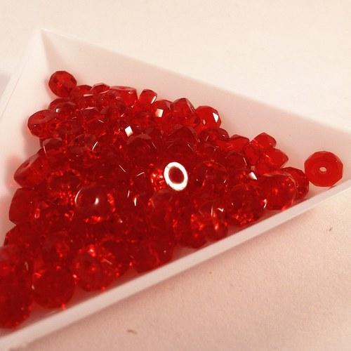 Broušené rondelky 6 x 3 mm červené 30 ks