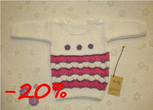 dětský pletený svetřík - bílý s vlnkatými pruhy