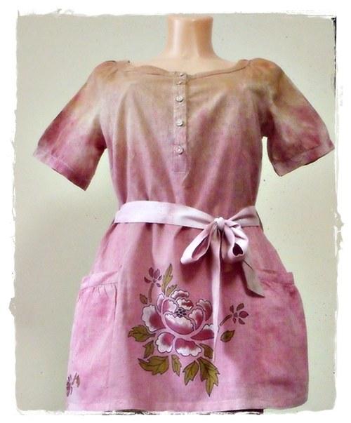 Dámská tunika s kapsami - růžový květ