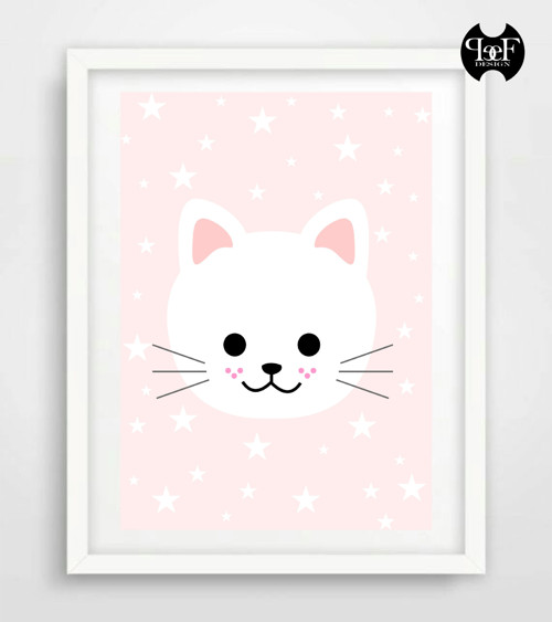 Holčičí pokojíček plakátek - hvězdná kočička