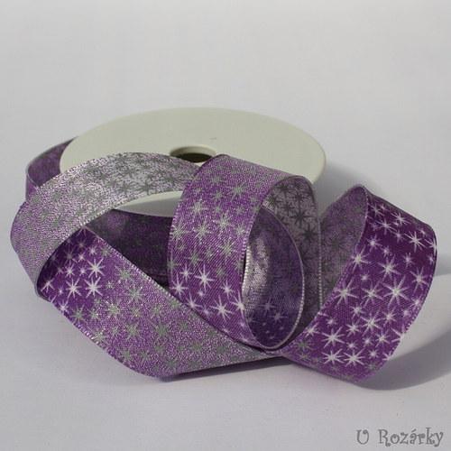 Stuha s drátem- 2,5 cm, fialové hvězdičky