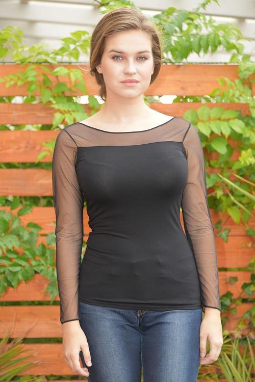 Tričko  černé s průhledem