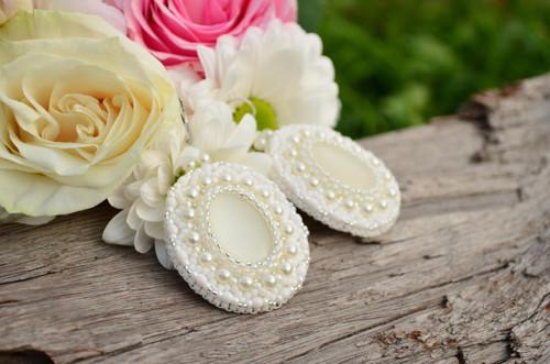 Svatební náušnice White Love + Dárková krabička