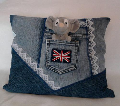 Jeans dekorační polštářek 40 x 35 cm