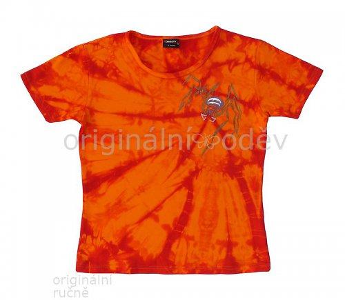 SLEVA: Malované tričko dámské - pavouk - oranžové
