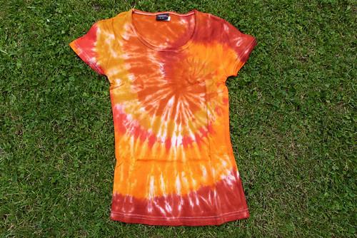 Tričko S - Spirála oranžovo-hnědá