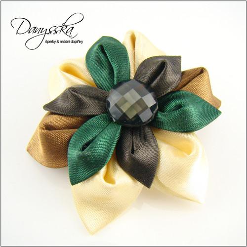 Saténová květina - brož/sponka do vlasů 205