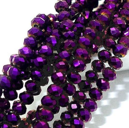 Skleněné korálky 3x3 mm, 100 kusů - tmavě fialové