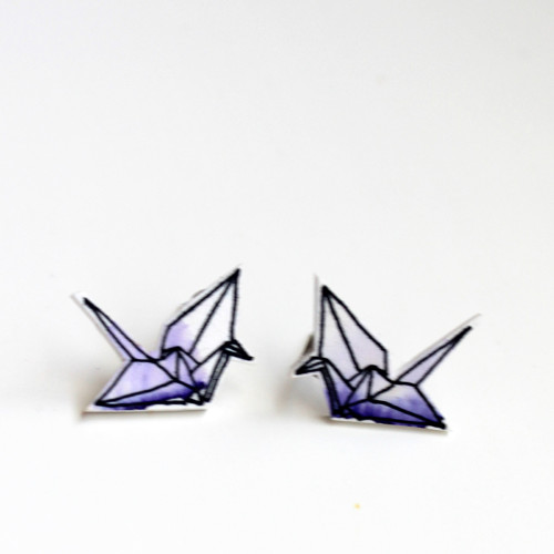 Náušnice: Origami jeřábi akvarel fialoví