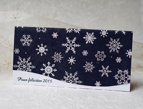 Luxusní novoročenka s ručním papírem - tmavě modrá