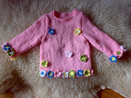 Růžový kytičkový dětský svetřík,tunika