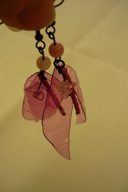 Křidélka fialová z petky s perletí a křišťálem